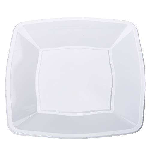 Quadratisch Party Geschirr in leicht Einweg Kunststoff Teller und Schalen, plastik, weiß, 7