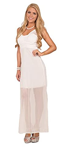 Womens Formal Chiffon Sparkle Sweetheart Neck Sleeveless Maxi Empire Waist Dress