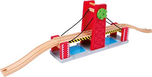 Bavaria-Home-Style-Collection Holzeisenbahn: Zugbrücke mit Schienen aus Holz zur Erweiterung der Eisenbahn mit , Inkl. Zwei geschwungenen Anschlussgleisen - Zug-depot Spielzeug
