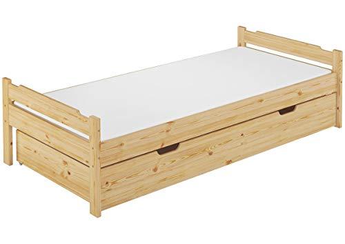 Erst-Holz® Massivholzbett Kiefer Natur 90x200 Einzelbett mit Rollrost Matratze Bettkasten 60.31-09 M S5