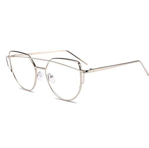 JZFUKSP Fashion Clear Glasses UV-Schutz Metallrahmen Brillen Anti Blue Light für Männer Frauen,Silver