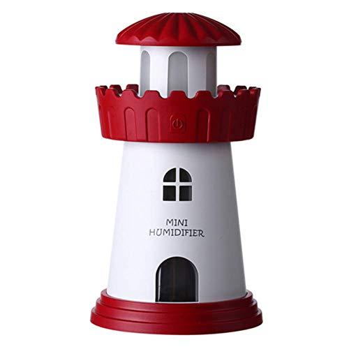 FEIFEIJ USB-Powered Mini-Leuchtturm-Luft-Aromatherapie-Luftbefeuchter LED-Lampe Flüsterleiser Diffusor für Home Office Dekoration (Honeywell Luftbefeuchter Lampe)