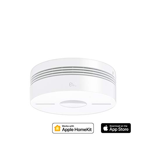 Eve Smoke - Detector de humo y calor con conexión, testeo automático, alarmas en hartas habitaciones, non occorrono bridge u gateway, Bluetooth Low Energy, certificación DIN EN 14604 (Apple HomeKit)