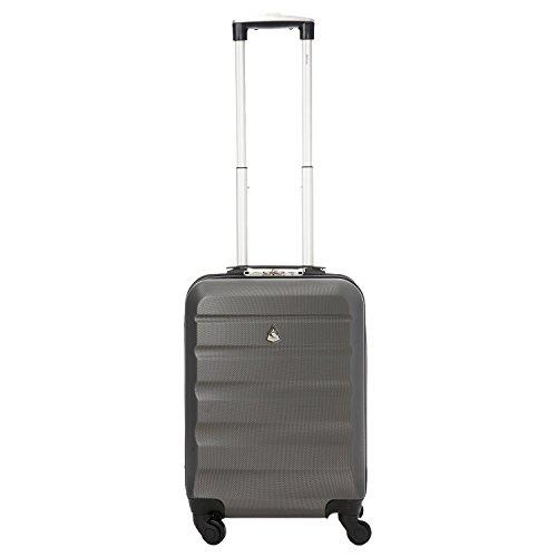 Aerolite Leichtgewicht ABS Hartschale 4 Rollen Handgepäck Trolley Koffer Bordgepäck Kabinentrolley Reisekoffer Gepäck, Genehmigt für Ryanair, easyJet, Lufthansa und viele mehr 3 Teilig Kohlegrau - 3
