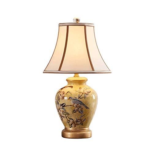 SLH American Country Tischleuchte Schlafzimmer Nachttischlampe Kreative Keramik Einfache moderne Wohnzimmer Gelb Tischlampe (Gelb Moderne Keramik-tischlampe)