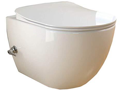 CREAVIT FE322 integrierten Kaltwasser Armatur SPÜLRANDLOS Hänge Dusch Wc Taharet Bidet Taharat Intimdusche inkl. Slim Soft-Close Deckel -