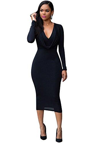 Blansdi Damen Mädchen Frauen Sommer beiläufig Sexy V-Ausschnitt Lange Hemden Reißverschluss Shirt Kleid Minikleid Cocktail kleid Party Clubwear Schwarz
