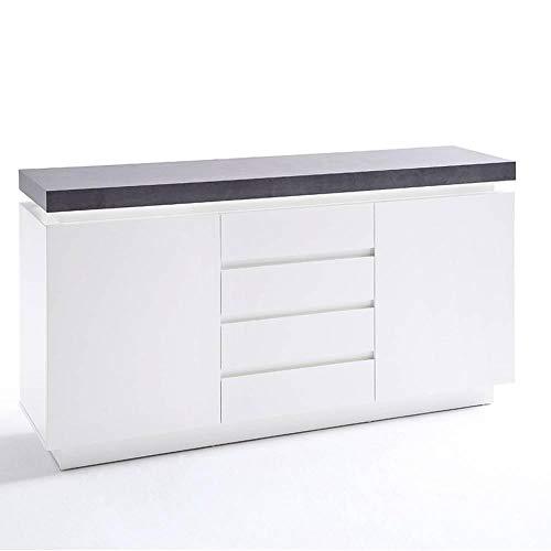 INSIDE Buffet Atlantis laqué Blanc Mat et béton 2 Portes 4 tiroirs LED Blanc Inclus