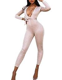 3c9cb2c127b Qixuan Women s Sexy V Neck Long Sleeve Party Clubwear Bandage Romper  Jumpsuit