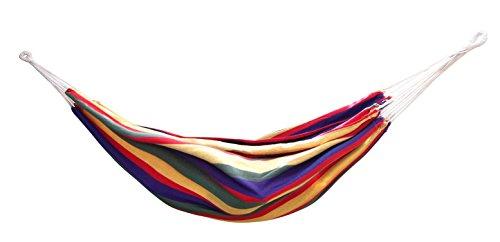confronta il prezzo Lumaland amaca in cotone, circa 210 x 150 cm, carico massimo 300 kg arcobaleno rosso, kit di fissaggio e borsa inclusi miglior prezzo