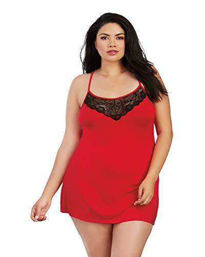 Dreamgirl Damen Plus Size Soft Jersey Chemise with Lace Insets Bluse, rot/schwarz, 1X - 1x Bluse