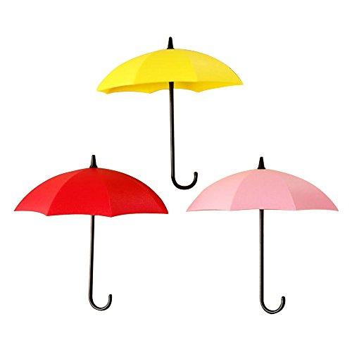 Contever® 3 Stück Regenschirm Form Selbstklebend Haken Wandhaken für das Badezimmer Home Küche Schlüssel #2 (Schlüssel Fliese)