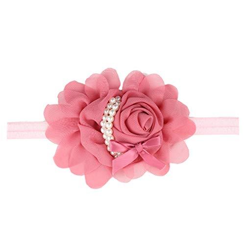 ELENXS Pink Baby Mädchen Chiffon Blume Stirnband Perle Haarband Neugeborene Säugling Kleinkind Kopfbedeckung Geburtstag Party Fotografieren Kopfschmuck von SamGreatWorld