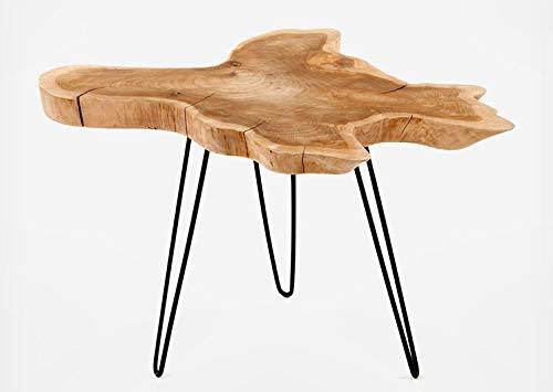 Meubletmoi Table Basse en Teck et trépied en métal - Design Exotique, Chalet Chic - Root