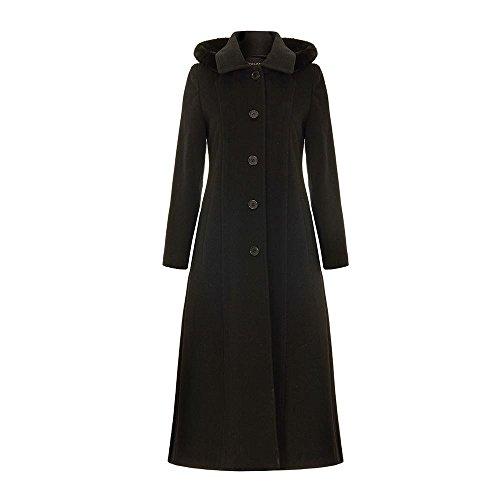 Anastasia Winter Wolle Abnehmbare Kaschmir mit Kapuze langen Mantel-Schwarz-Größe 40