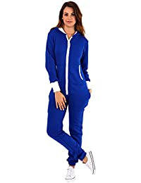 baa0c877ebf5 Parsa Fashions ® Womens Plain Zipper Onesie Ladies Onepiece All in One  Hooded Zip Up Overall Jumpsuit…