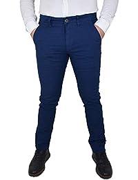 9ec0c96e303193 Guy Pantaloni da Uomo in Cotone Elasticizzati Estivi Slim Fit Modello Chino  a Quadri Blu Taglie