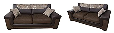 Harmony 3+2 Seater Sofa Set Brown Fabric Faux Leather from Meble Roberto sp. z.o.o