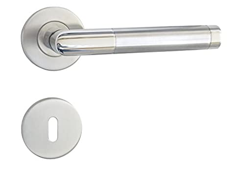 High Quality Emilia Stainless Steel Satin + Polished Door Handle