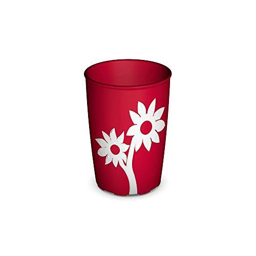 Ornamin Becher mit Anti-Rutsch Blume 220 ml rot/weiß (Modell 820) / Trinkbecher, Pflege-Becher, Kinderbecher