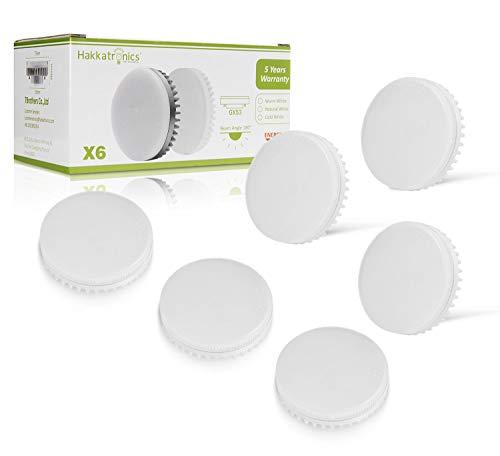 GX53 LED Einbau-Strahler, Hakkatronics 8W LED-Leuchtmittel, 3000K Warmweiß, 230Vac, 750lm(75w Halogenlampe Ersatz), Nicht Dimmbar, Reflektor Bulb Für Wohnzimmer, Kinderzimmer, Esszimmer (6 Paket) -