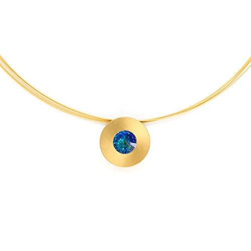 Heideman Halskette Damen Lumen aus Edelstahl Gold farbend matt Kette für Frauen mit Swarovski Stein Kristall Aurore boreale Opal im Fantasie Edelsteinschliff