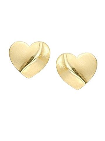 MyGold Herz-Ohrringe Ohrstecker Stecker Gelbgold 750 Gold (18 Karat) massiv ohne Steine 7mm x 7mm Herzform Herzstecker Goldohrringe Heart of Gold O-07838-G503
