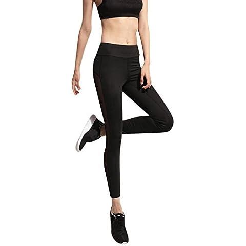 OverDose Leggings de la Mujer Fitness Leggings de alta cintura Patchwork Skinny Push Up Pantalones Yoga