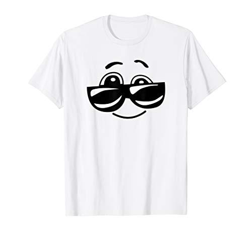 Smilie T-Shirt Gesicht mit Sonnenbrille cooles tshirt Emoji