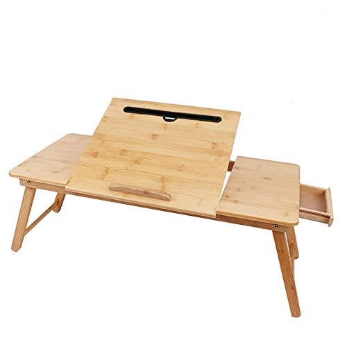 HANSHAN Küchentische Laptop Schreibtisch Tisch Verstellbar Bambus Faltbar Frühstück Serviert Bett Tablett W 'Kippen Top Schublade Tablet-Halter (Size : 28 × 13 × 13 inch) -