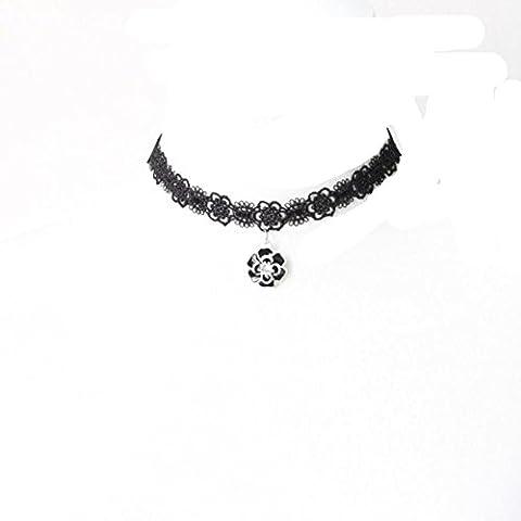 WTING Necklace Woman Fashion Floral Short Lace Chain , black