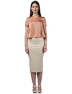IMAIMA MAIA Ladies Cropped Tan Silk Blouse Round Neck Cap Sleeves 100% Silk Blouses Girls Casual Clothes Indo...