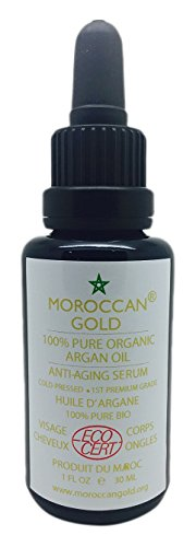 100% Pure huile d'argan organique lauréat du Trophée d'or meilleure huile d'argan producteur au Maroc 2012 - #1 huile d'argan marocaine pour les cheveux,peau,ongles - EcoCert approuvée certifiée Équitable 30 ml / 1 oz - Légère, rapide à absorber et qui Hydrate - pressée à froid Premium Grade d'huile marocaine, riche en propriété anti-âge et à la vitamine E - Fabriquée et importée du Maroc en 2013