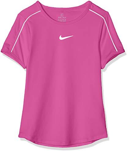 Nike Mädchen Court Dri-FIT Oberteil, White/(Active Fuchsia), - Shirt Tennis Nike