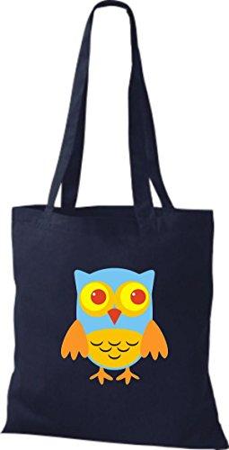 Owl Eule blau niedliche Retro Jute Bunte Tragetasche Farbe Stoffbeutel diverse ShirtInStyle UwatqYt