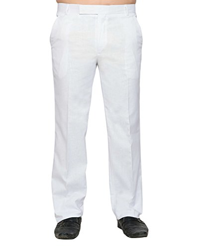 Lee Marc Men's Straight Fit Formal Pant (White Trousers_36, White, 36)