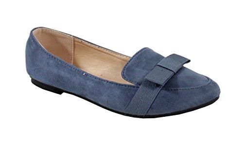 Daim Dalle Femme Mocassino Scarpe Blu Stile qazavct
