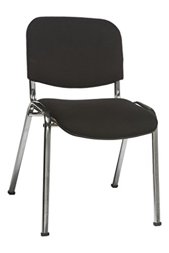 simple..*M* 4001070100399 Stapelstuhl, 81 x 44 x 55 cm, metall, schwarz - Chrom-leder Sitzbank