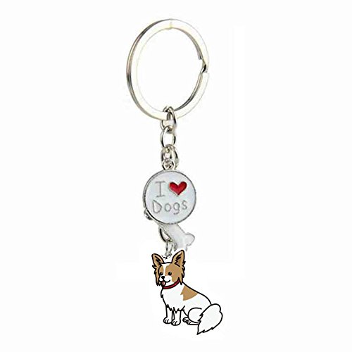 Zoonpark®-Hunde-Schlüsselanhänger, süßer kleiner Hunde-Schlüsselring, aus Metall, Metall, Papillon, Small