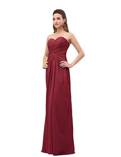 Dresstells, A-ligne robe de soirée robe de demoiselle d'honneur longueur ras du sol en mousseline de soie Bordeaux