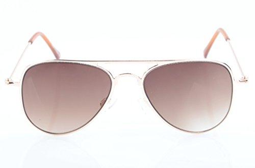 Eyekepper Lunettes de soleil enfant de type aviateur à monture en acier inoxydable dore-marron