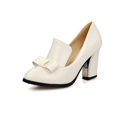 SHOESHAOGE Chaussures Pour Femmes Pu Printemps Automne Comfort Heels Talon Chaussures Bowknot Pour Bureau Extérieur &Amp; Carrière Rouge Noir Blanc White
