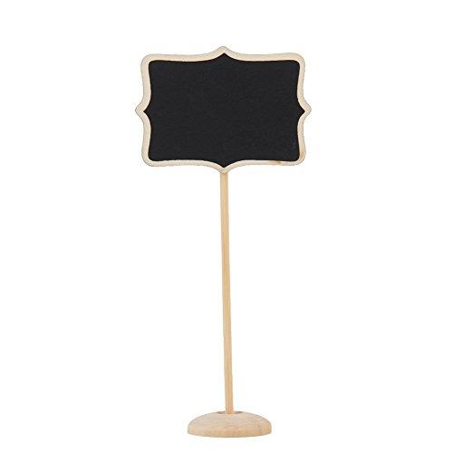 Demiawaking, mini lavagna a forma di cuore, lavagnetta segna-tavolo con supporto, per matrimonio, per piante, varie forme (cuore/fiore/rettangolo) - 10 pezzi , Nero , Taglia 2