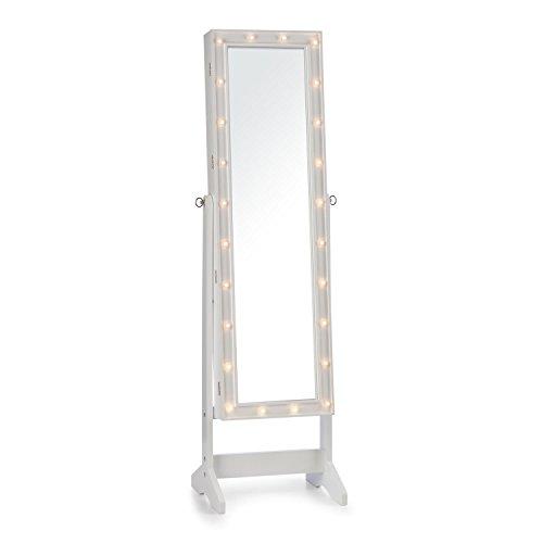 OneConcept Smilla • Schmuckschrank • Spiegelschrank • Schmuckspiegel • horizontal schwenkbarer Ganzkörper-Spiegel • Maße: 47 x 147 x 37 cm • Außenbeleuchtung mit 24 LEDs • 2 x Schlüssel • weiß