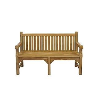 Antike Fundgrube Gartenbank Sitzbank Park Bench 2-Sitzer Teakholz unbehandelt B: 150 cm (8967)