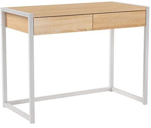 WOLTU® Schreibtisch TSG27hei Computertisch Bürotisch Arbeitstisch PC Laptop Tisch, in Melamin, mit 2 Schubladen, aus Holz und Stahl, 100x50x76cm(BxTxH), Hell Eiche