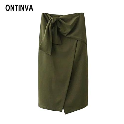 LKITZZ Army Green, M: Womens Fashion Slim Green Skirt with Belt Knee Length Asymmetrical Hem High Waist Office Ladies Elegant Pencil Skirts Jupes 2018