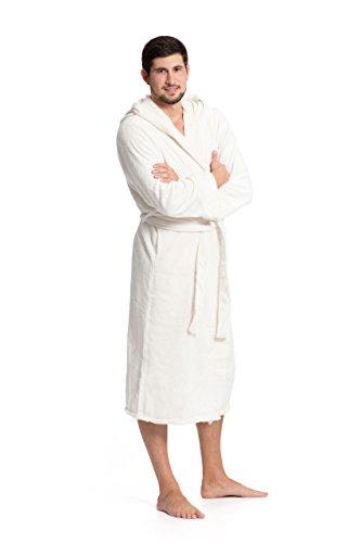 ZOLLNER Bademantel für Damen und Herren, Größe XXL, Mikrofaser, wollweiß