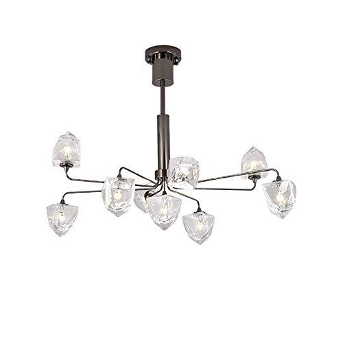 5-licht-esszimmer-kronleuchter (Oevina Mode Moderne Glas LED Kronleuchter, G4 5 Lichter Metall Handarbeit Pendelleuchte für Esszimmer Flur Bar Hängen Licht (Farbe : Blackc, größe : 83 * 57cm))