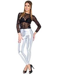 FUTURO FASHION - Knöchellange Leggings mit hohem Bund - sexy Latex-Lederimitat - matt & glänzender Wet-Look